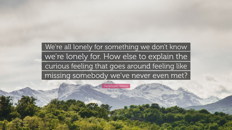 """David Foster Wallace Quote: """"We're all lonely for something we don't know we're lonely for. How else to explain the curious feeling that goes around feeling like missing somebody we've never even met?"""""""