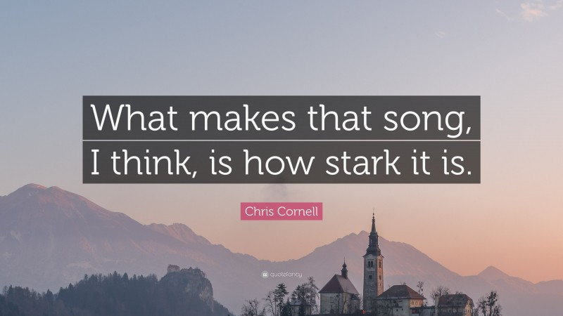 """Chris Cornell Quote: """"What makes that song, I think, is how stark it is."""""""