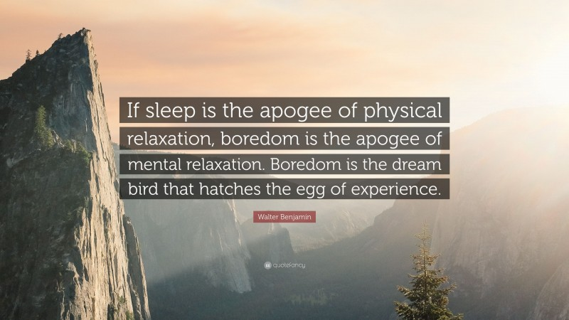 """Walter Benjamin Quote: """"If sleep is the apogee of physical relaxation, boredom is the apogee of mental relaxation. Boredom is the dream bird that hatches the egg of experience."""""""