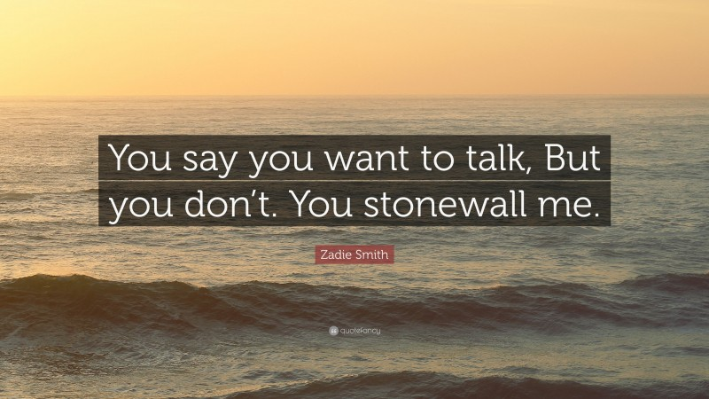 """Zadie Smith Quote: """"You say you want to talk, But you don't. You stonewall me."""""""