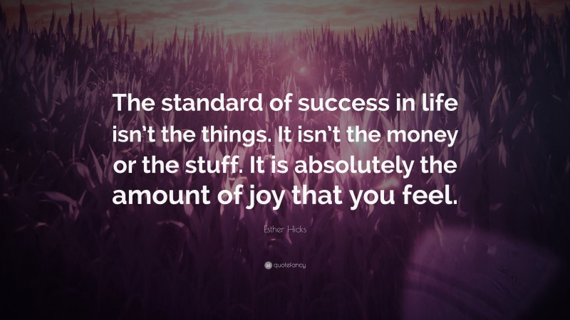 """Esther Hicks Quote: """"The standard of success in life isn't the things. It isn't the money or the stuff. It is absolutely the amount of joy that you feel."""""""