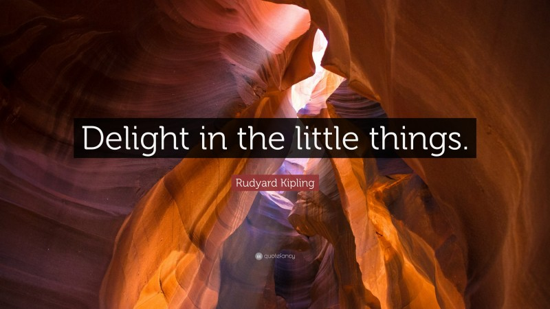 """Rudyard Kipling Quote: """"Delight in the little things."""""""