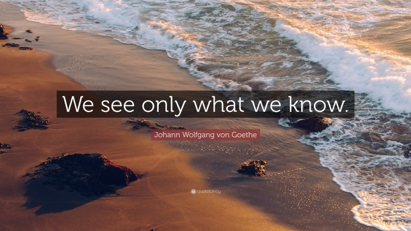 "Johann Wolfgang von Goethe Quote: ""We see only what we know."""