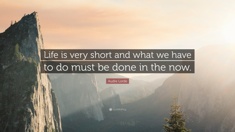 """Audre Lorde Quote: """"Life is very short and what we have to do must be done in the now."""""""