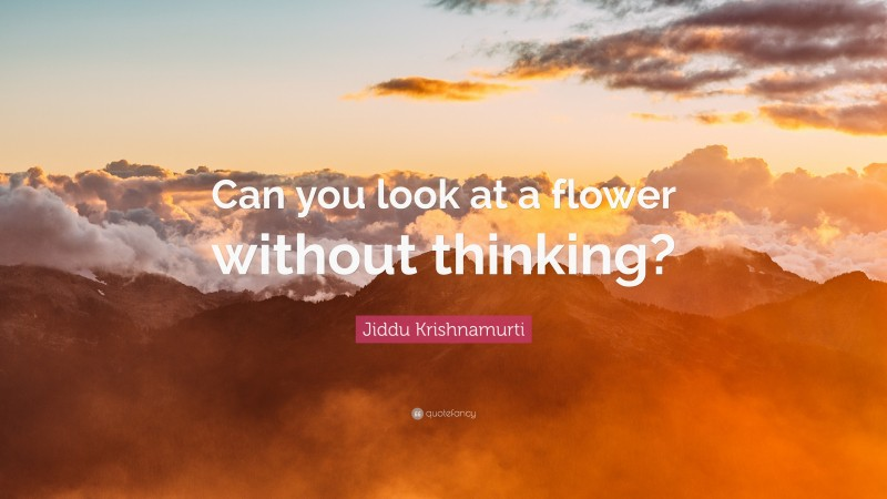 """Jiddu Krishnamurti Quote: """"Can you look at a flower without thinking?"""""""