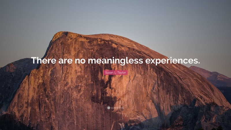 """Susan L. Taylor Quote: """"There are no meaningless experiences."""""""