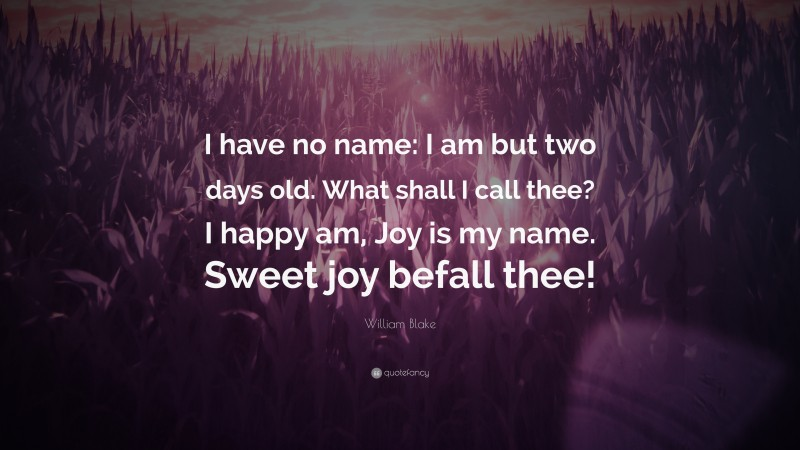 """William Blake Quote: """"I have no name: I am but two days old. What shall I call thee? I happy am, Joy is my name. Sweet joy befall thee!"""""""