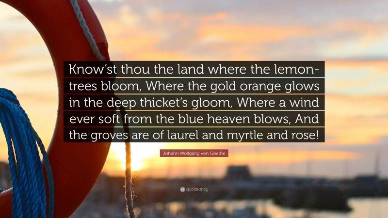 """Johann Wolfgang von Goethe Quote: """"Know'st thou the land where the lemon-trees bloom, Where the gold orange glows in the deep thicket's gloom, Where a wind ever soft from the blue heaven blows, And the groves are of laurel and myrtle and rose!"""""""