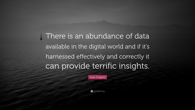 """Gian Fulgoni Quote: """"There is an abundance of data available in the digital world and if it's harnessed effectively and correctly it can provide terrific insights."""""""