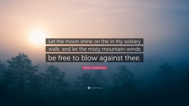 """William Wordsworth Quote: """"Let the moon shine on the in thy solitary walk; and let the misty mountain-winds be free to blow against thee."""""""