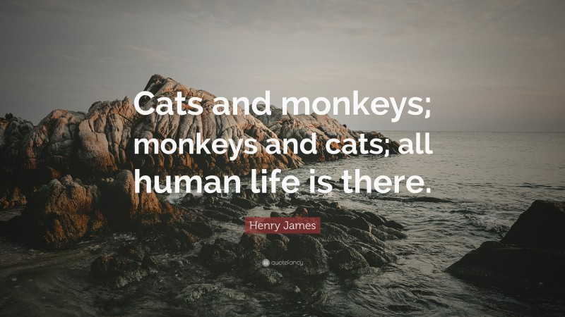 """Henry James Quote: """"Cats and monkeys; monkeys and cats; all human life is there."""""""