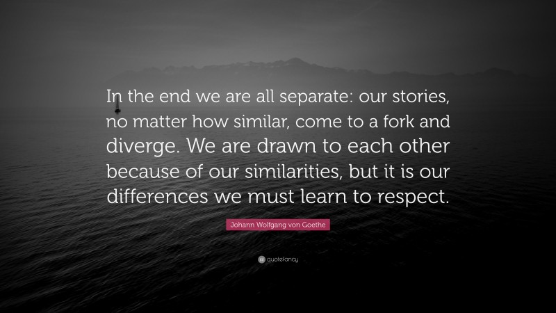 """Johann Wolfgang von Goethe Quote: """"In the end we are all separate: our stories, no matter how similar, come to a fork and diverge. We are drawn to each other because of our similarities, but it is our differences we must learn to respect."""""""