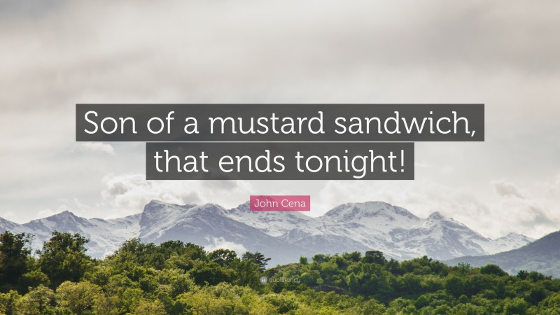"""John Cena Quote: """"Son of a mustard sandwich, that ends tonight!"""""""