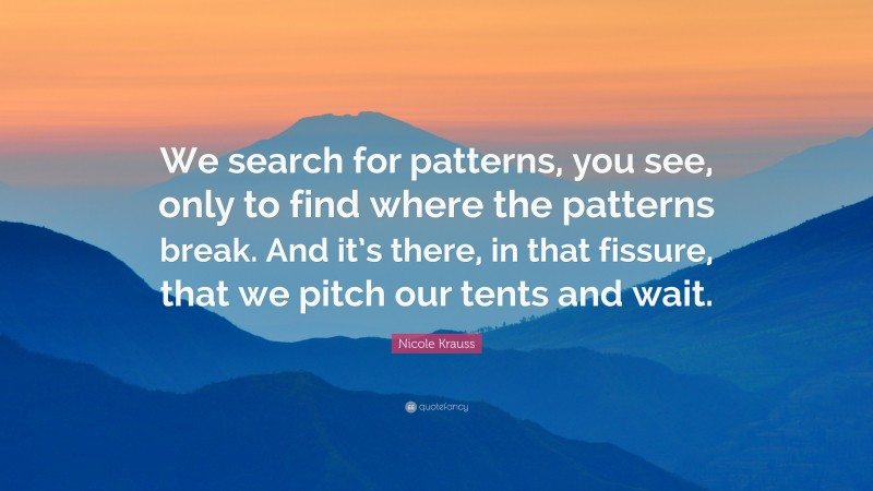 """Nicole Krauss Quote: """"We search for patterns, you see, only to find where the patterns break. And it's there, in that fissure, that we pitch our tents and wait."""""""