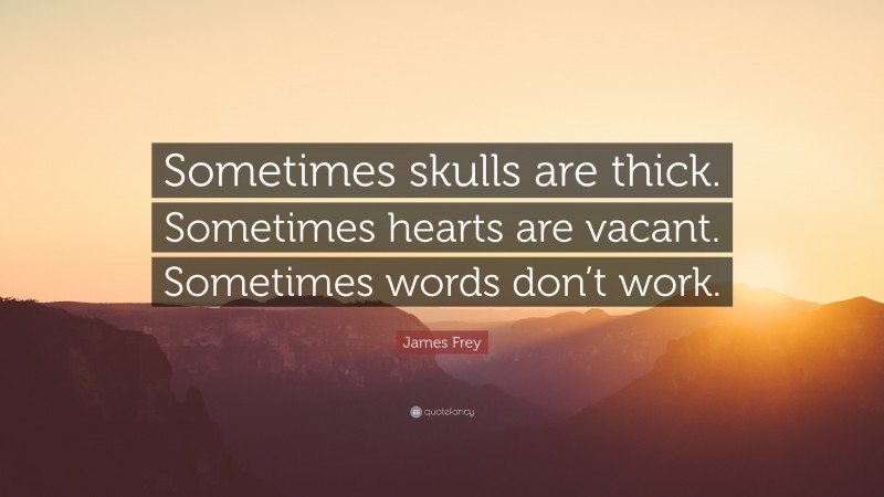 """James Frey Quote: """"Sometimes skulls are thick. Sometimes hearts are vacant. Sometimes words don't work."""""""