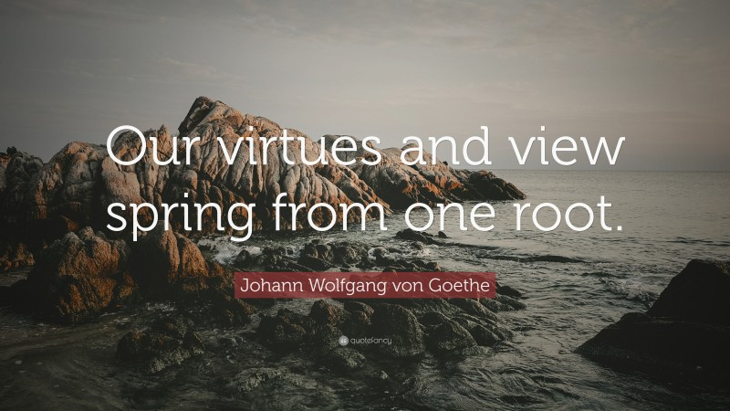 """Johann Wolfgang von Goethe Quote: """"Our virtues and view spring from one root."""""""
