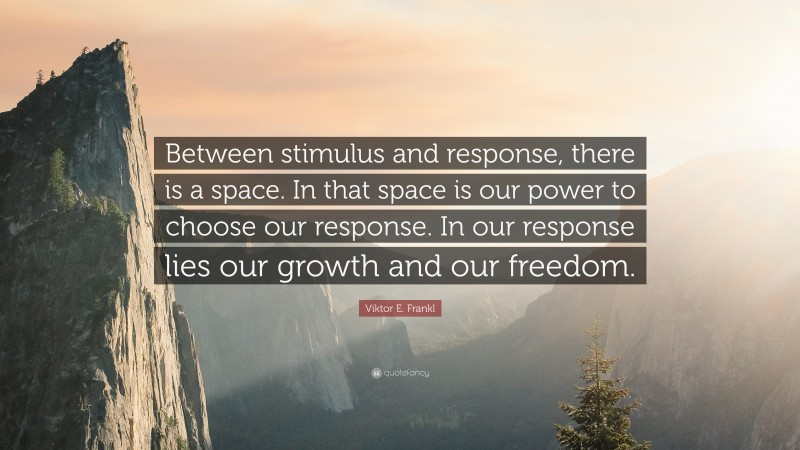 """Viktor E. Frankl Quote: """"Between stimulus and response, there is a space. In that space is our power to choose our response. In our response lies our growth and our freedom."""""""