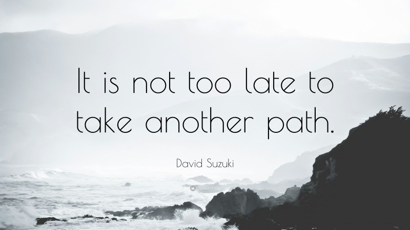 """David Suzuki Quote: """"It is not too late to take another path."""""""