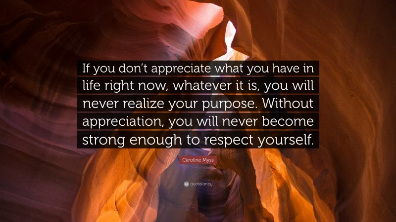 """Caroline Myss Quote: """"If you don't appreciate what you have in life right now, whatever it is, you will never realize your purpose. Without appreciation, you will never become strong enough to respect yourself."""""""