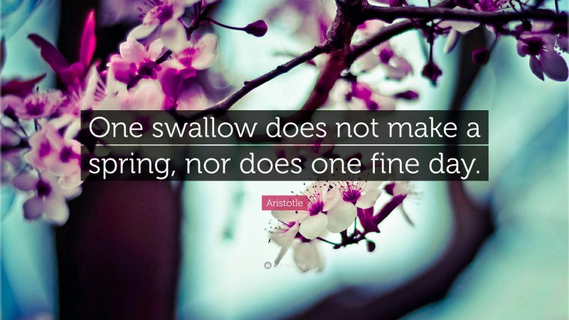 """Aristotle Quote: """"One swallow does not make a spring, nor does one fine day."""""""
