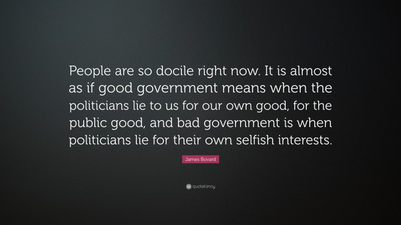 """James Bovard Quote: """"People are so docile right now. It is almost as if good government means when the politicians lie to us for our own good, for the public good, and bad government is when politicians lie for their own selfish interests."""""""