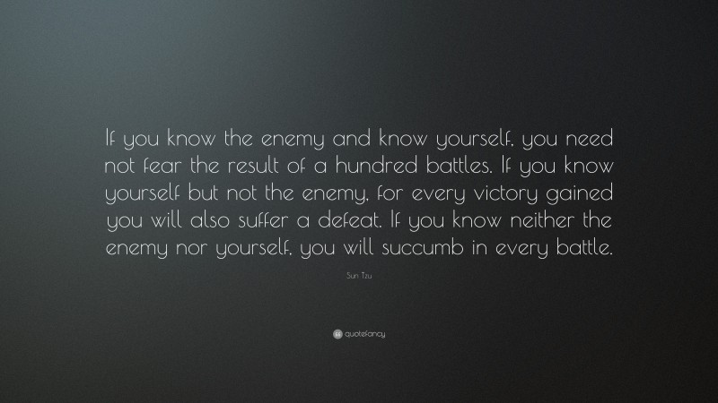 """Sun Tzu Quote: """"If you know the enemy and know yourself, you need not fear the result of a hundred battles. If you know yourself but not the enemy, for every victory gained you will also suffer a defeat. If you know neither the enemy nor yourself, you will succumb in every battle."""""""