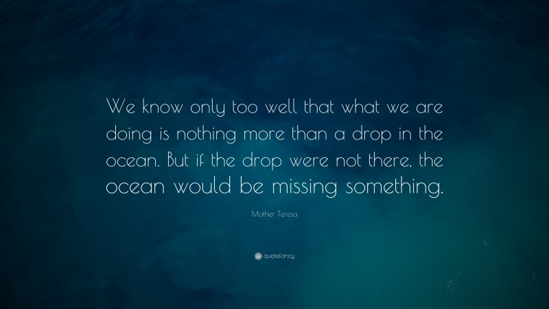 """Mother Teresa Quote: """"We know only too well that what we are doing is nothing more than a drop in the ocean. But if the drop were not there, the ocean would be missing something."""""""