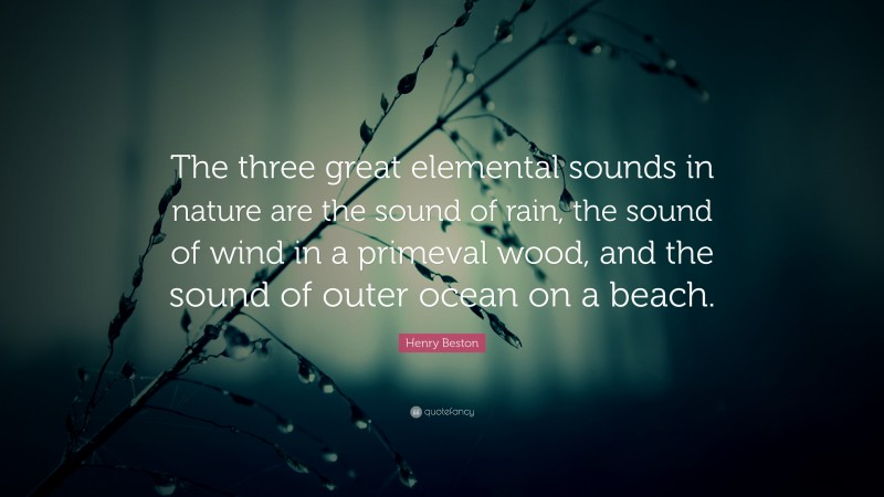 """Henry Beston Quote: """"The three great elemental sounds in nature are the sound of rain, the sound of wind in a primeval wood, and the sound of outer ocean on a beach."""""""