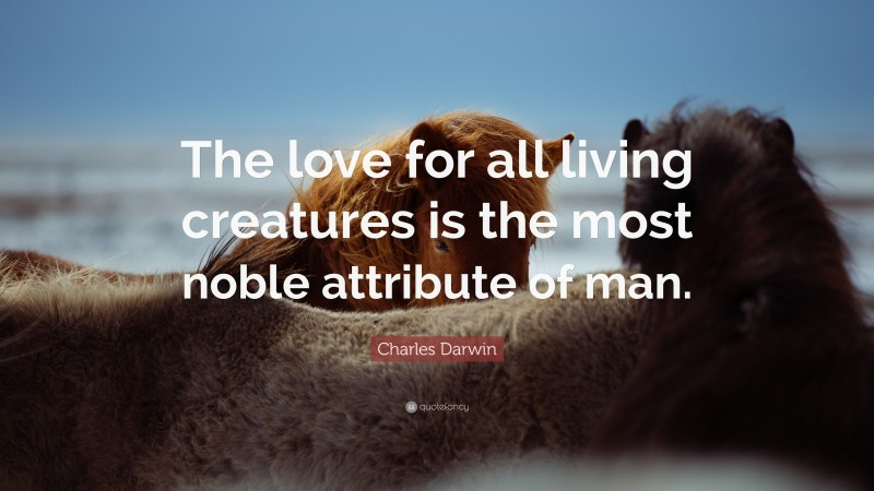 """Charles Darwin Quote: """"The love for all living creatures is the most noble attribute of man."""""""