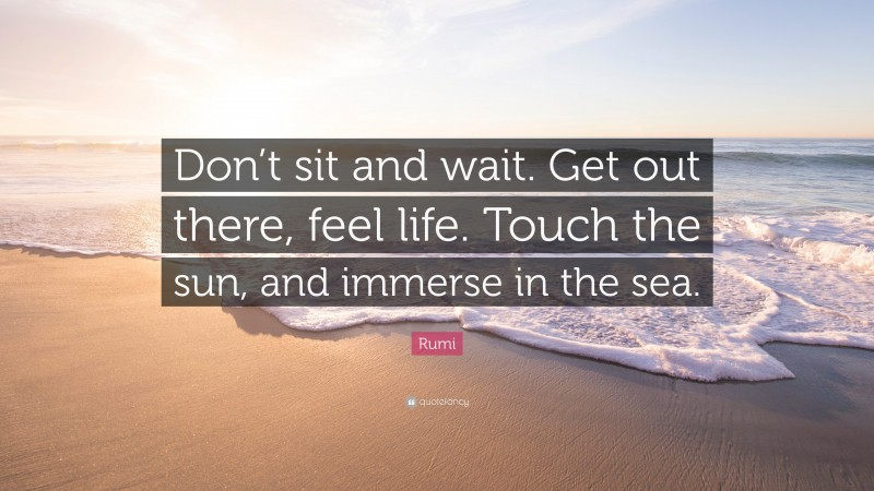 """Quotes About Sea: """"Don't sit and wait. Get out there, feel life. Touch the sun, and immerse in the sea."""" — Rumi"""