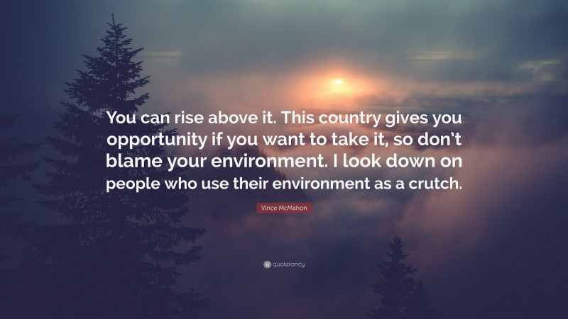 """Vince McMahon Quote: """"You can rise above it. This country gives you opportunity if you want to take it, so don't blame your environment. I look down on people who use their environment as a crutch."""""""