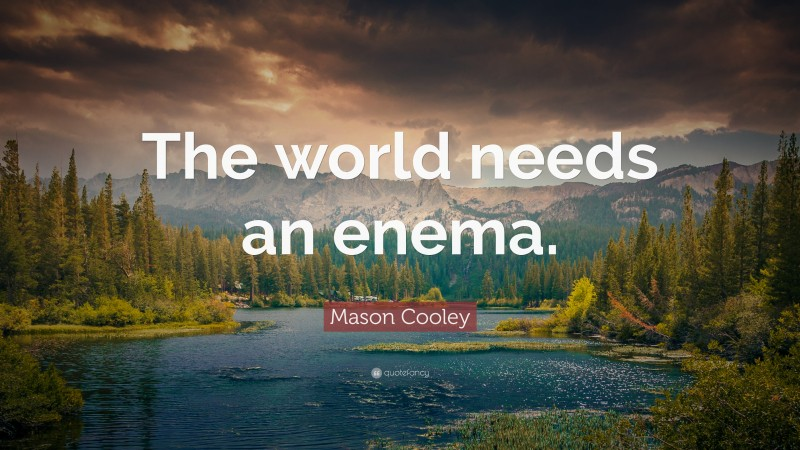 """Mason Cooley Quote: """"The world needs an enema."""""""