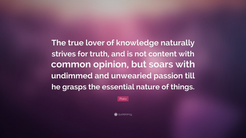 """Plato Quote: """"The true lover of knowledge naturally strives for truth, and is not content with common opinion, but soars with undimmed and unwearied passion till he grasps the essential nature of things."""""""