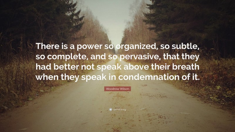 """Woodrow Wilson Quote: """"There is a power so organized, so subtle, so complete, and so pervasive, that they had better not speak above their breath when they speak in condemnation of it."""""""
