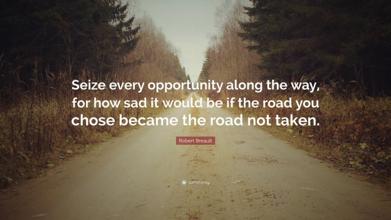 """Robert Breault Quote: """"Seize every opportunity along the way, for how sad it would be if the road you chose became the road not taken."""""""
