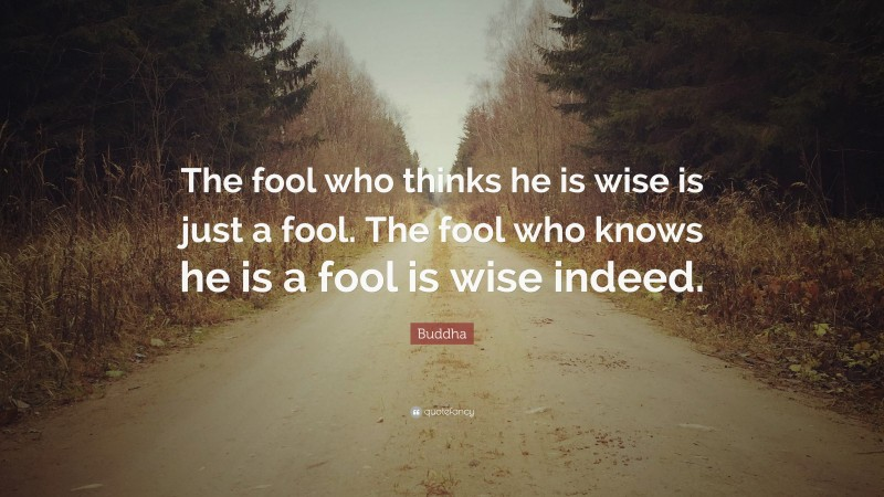 """Buddha Quote: """"The fool who thinks he is wise is just a fool. The fool who knows he is a fool is wise indeed."""""""