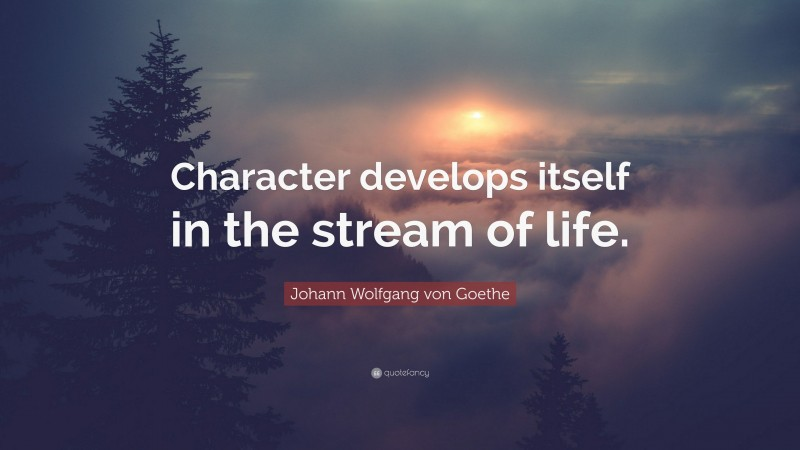 """Johann Wolfgang von Goethe Quote: """"Character develops itself in the stream of life."""""""