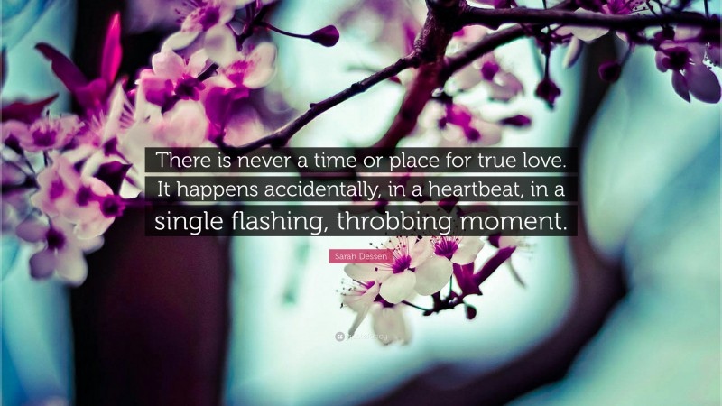 """Sarah Dessen Quote: """"There is never a time or place for true love. It happens accidentally, in a heartbeat, in a single flashing, throbbing moment."""""""
