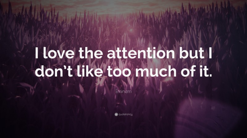 """Eminem Quote: """"I love the attention but I don't like too much of it."""""""