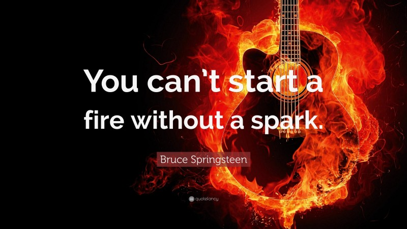 """Bruce Springsteen Quote: """"You can't start a fire without a spark."""""""