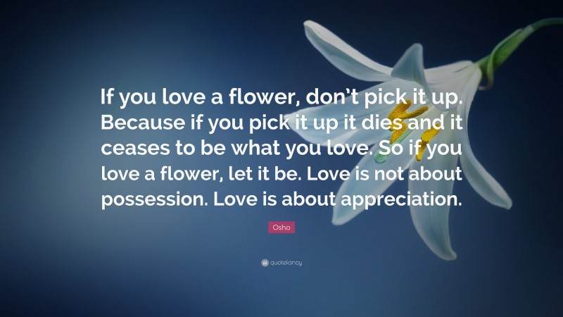 """Osho Quote: """"If you love a flower, don't pick it up. Because if you pick it up it dies and it ceases to be what you love. So if you love a flower, let it be. Love is not about possession. Love is about appreciation."""""""