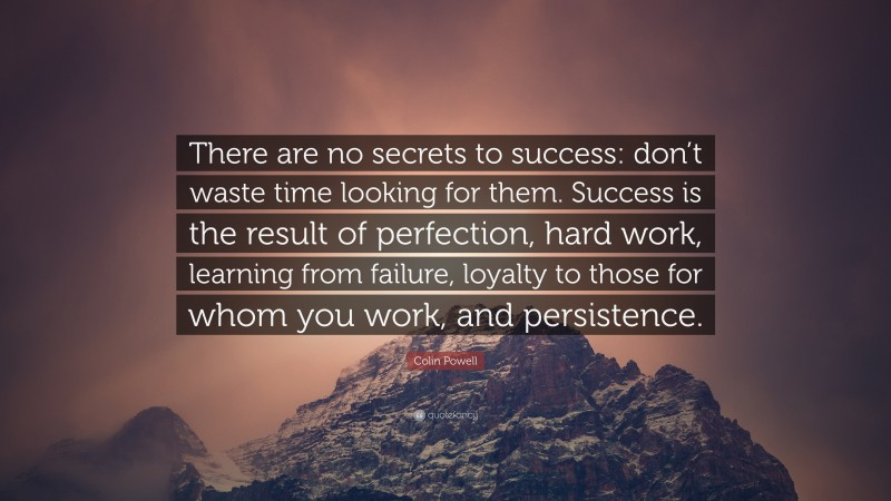 """Colin Powell Quote: """"There are no secrets to success: don't waste time looking for them. Success is the result of perfection, hard work, learning from failure, loyalty to those for whom you work, and persistence."""""""