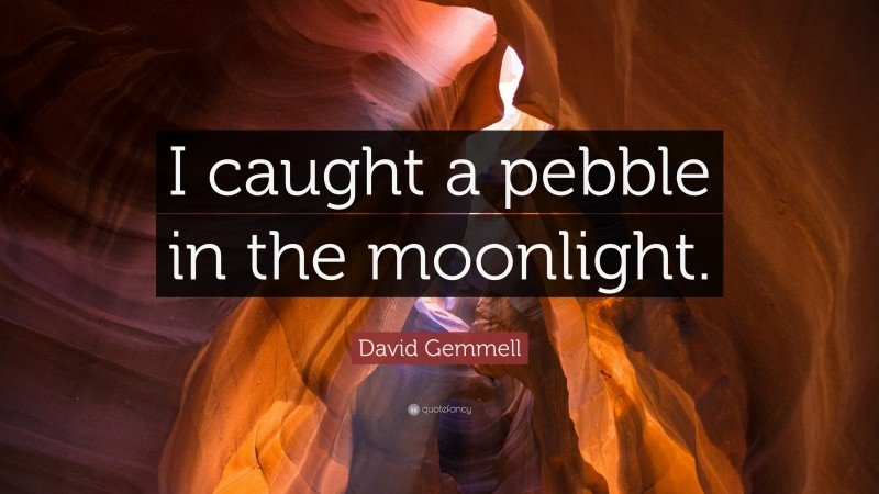 """David Gemmell Quote: """"I caught a pebble in the moonlight."""""""
