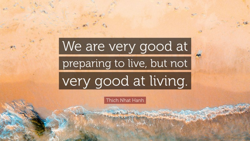 """Thich Nhat Hanh Quote: """"We are very good at preparing to live, but not very good at living."""""""
