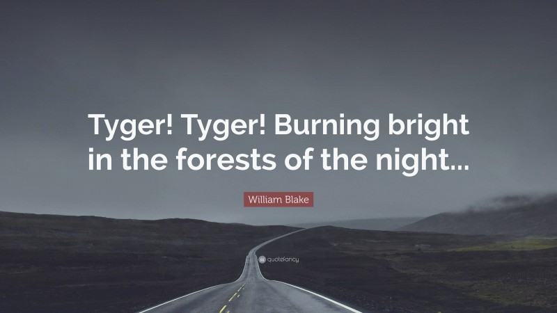 """William Blake Quote: """"Tyger! Tyger! Burning bright in the forests of the night..."""""""