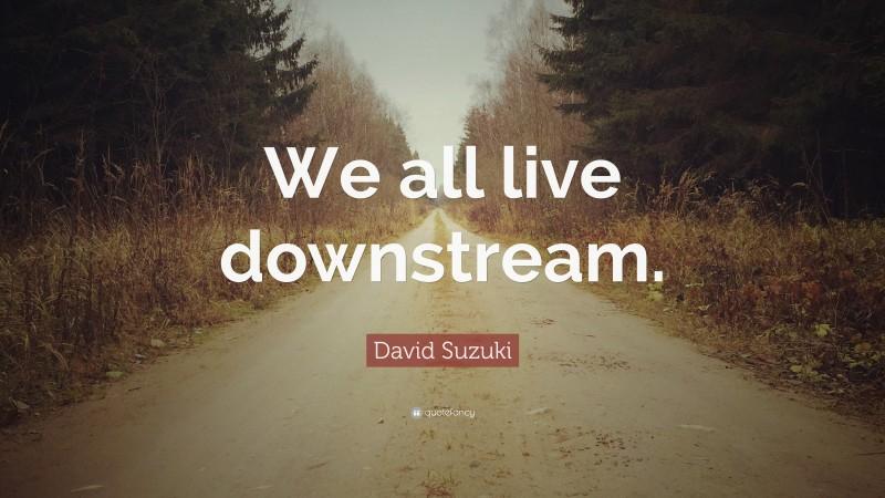 "David Suzuki Quote: ""We all live downstream."""