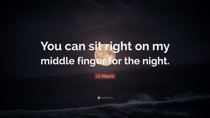"""Lil Wayne Quote: """"You can sit right on my middle finger for the night."""""""