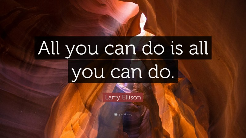 """Larry Ellison Quote: """"All you can do is all you can do."""""""