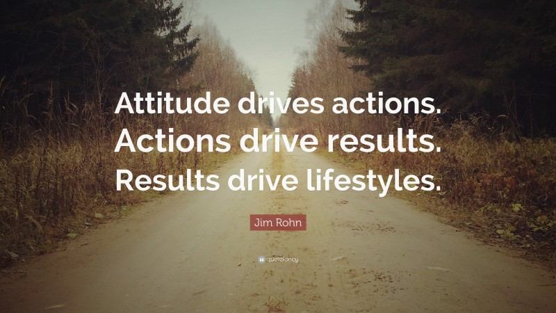"""Jim Rohn Quote: """"Attitude drives actions. Actions drive results. Results drive lifestyles."""""""