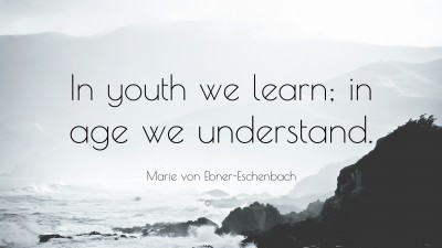 In youth we learn; In age we understand. - lifehack.org